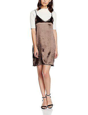 14, Brown (Smoke), Boohoo Petite Women's Satin Strappy Slip Dress NEW