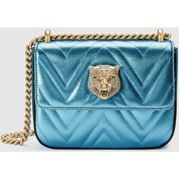 Gucci Broadway Chain Shoulder Bag (4005 TND) ❤ liked on Polyvore featuring bags, handbags, shoulder bags, bolsas, gucci, light blue, chain shoulder bag, light blue purse, blue leather handbags and leather shoulder handbags