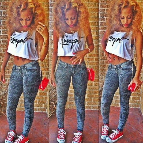 Black Dope Fashion Girl: ... Bag Crop Tops Girl Swag Dope Jeans