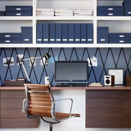 Navy blue home office with walnut desk and chair | Home office storage ideas | PHOTO GALLERY | Ideal Home | Housetohome.co.uk