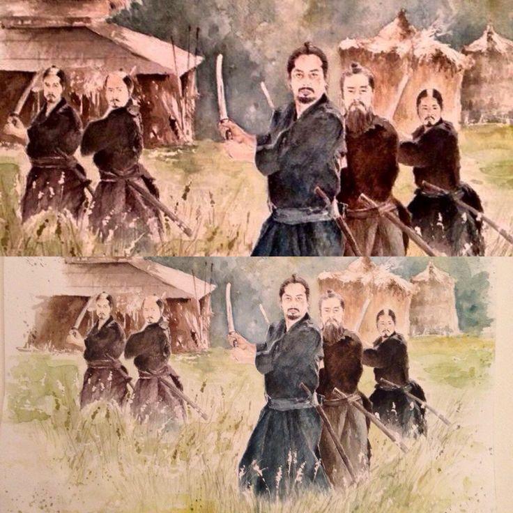 darker or lighter ?! .. are  undecided....#watercolor #lastsamurai #HiroyukiSanada #thelastsamurai #art #arte #真田広之 #draw #drawing #acquerello  the Last Samurai hiroyuki sanada  真田広之