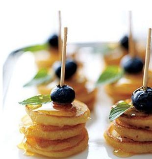 Mini Pancake Hors D'oeuvres. Made these for a baby shower and they were a huge hit!