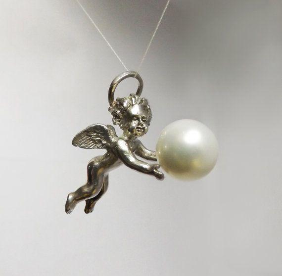 Sterling Silver Angel Charm Pendant Cherub Jewelry by BonTonJoyaux