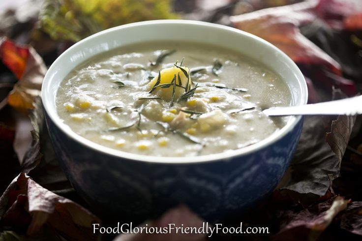 Chicken, Potato and Corn Chowder.  Such a hearty, immune-boosting soup.  Includes instructions for making your own chicken stock, or you can make it vegetarian too.  Gluten/dairy/grain/sugar/egg/nut/additive FREE!! http://www.foodgloriousfriendlyfood.com/1/post/2013/06/chicken-potato-and-corn-chowder.htmlPicture