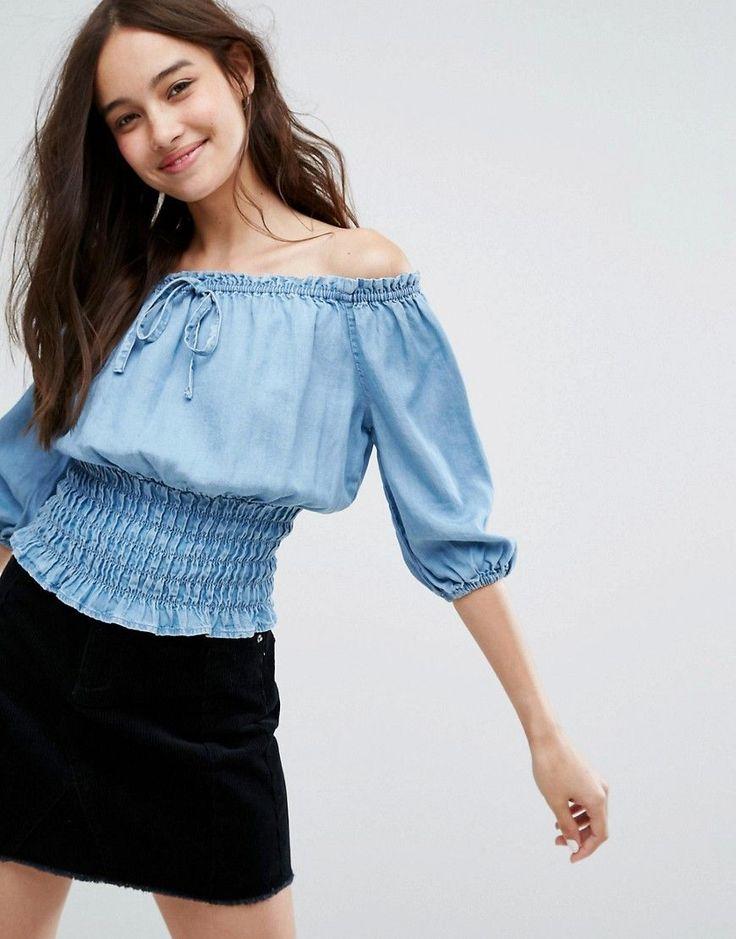 New Look Shirred Waist Denim Bardot Top - Blue