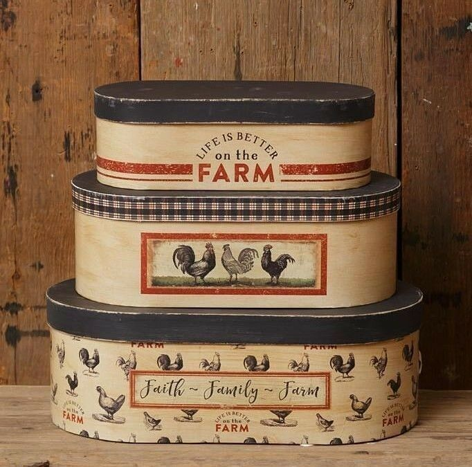 LIFE IS BETTER ON THE FARM STACKING BOXES 3 pcs NESTING Rustic FAITH FAMILY FARM