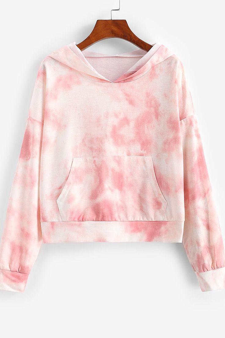 Tie Dye Drop Shoulder Pocket Pullover Hoodie Light Pink M Clothes Fashion Online Shopping Clothes Women [ 1104 x 736 Pixel ]