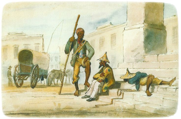 Slaves relaxing on the steps of the Old Townhouse, Greenmarket Square, Cape Town.  painting by Charles Bell c 1850
