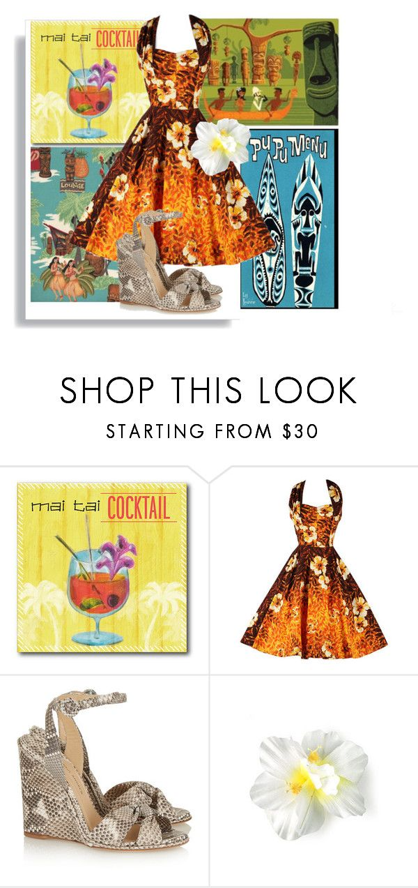 """Tiki Lounge"" by vingananee ❤ liked on Polyvore featuring Courtside Market, Paul Andrew, modern, vintage, tropical, art and midcenturymodern"