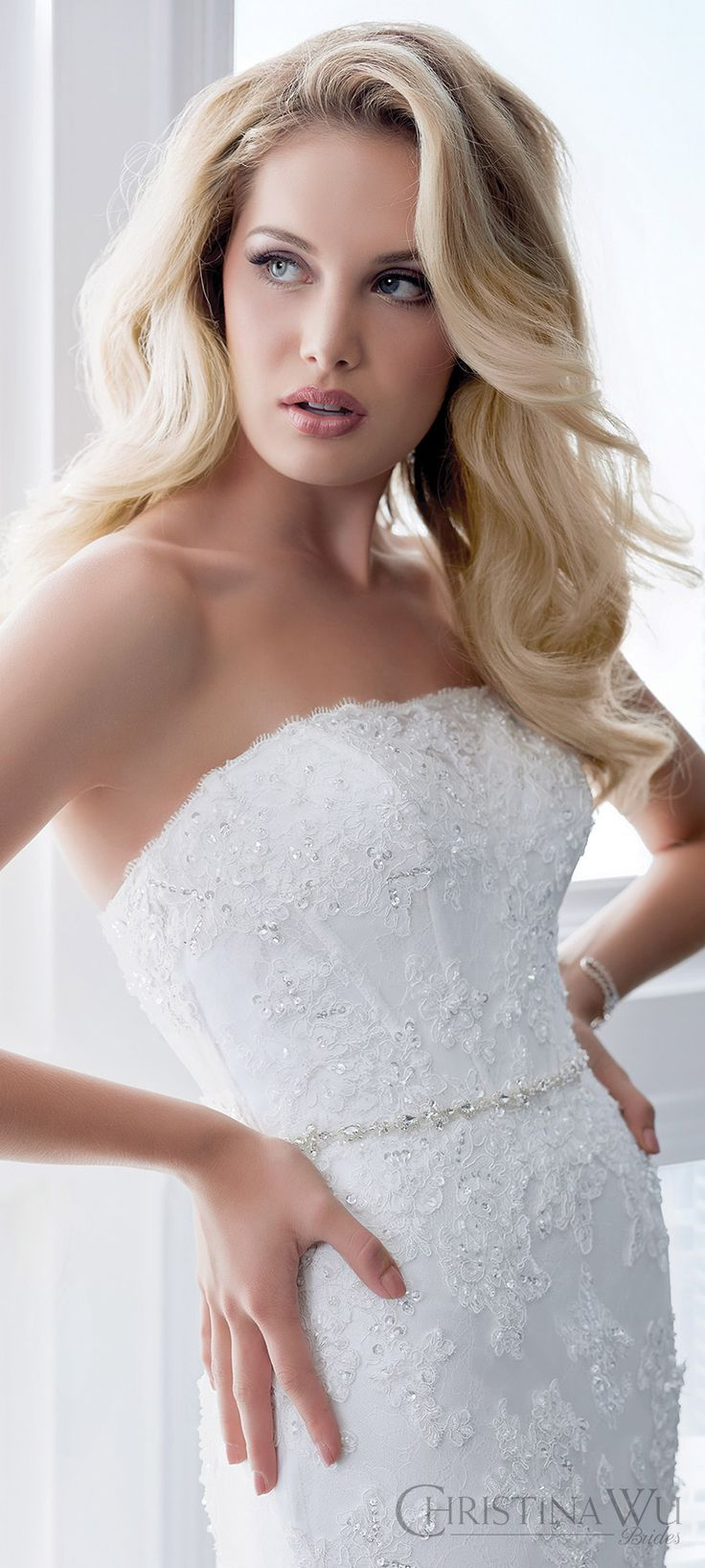 christina wu brides spring 2017 bridal strapless straight across beaded corset bodice fit flare lace wedding dress (15618) mv