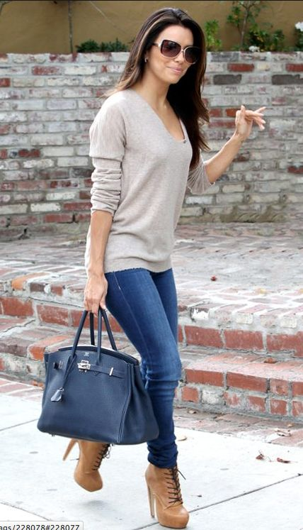 Eva steps out in West Hollywood accessorizing her look with sunnies, boots and one fab Birkin.