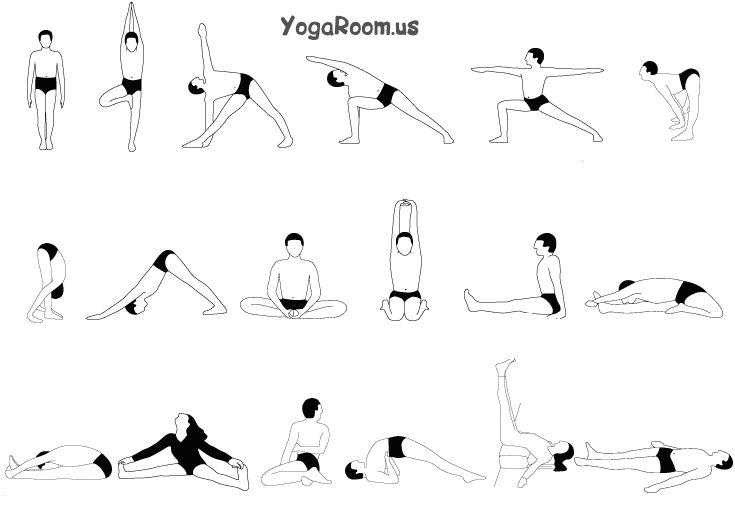 Комплексы йоги в картинках с описанием, солнца лучами лицом