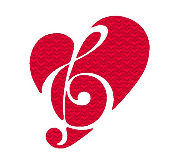 Treble Clef Heart Embroidery Machine Design by OCDEmbroidery