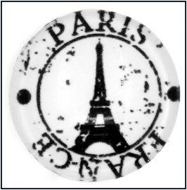 Glazen cabochons Parijs zwart /wit