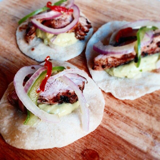 """""""Baby hand rolled tortillas with roast fennel, parsley and avocado cream, bbq chicken and pickled onions."""" Photo taken by @danandchristie on Instagram, pinned via the InstaPin iOS App! http://www.instapinapp.com (01/08/2015)"""