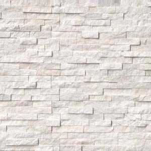 Layer on the texture for a high-style look! Stacked natural stone ledger panels and split face mosaics bring tactile and architectural details to walls you'll love. Create a statement look by transforming an ordinary wall into a stunning feature wall with one of these beauties. Featured: Arctic White Stacked Stone