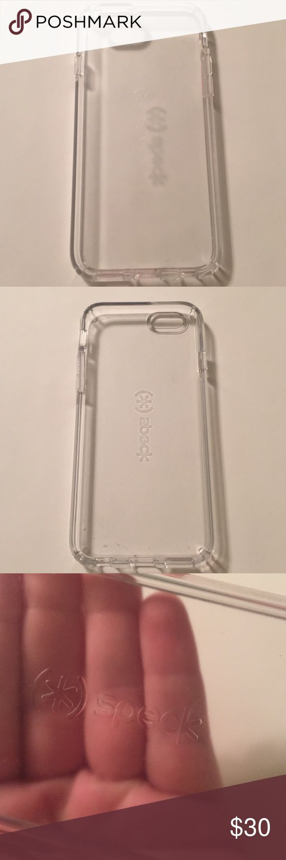 Clear Speck IPhone 6 Case This case is a speck candy shell! It is clear and has never been used! I bought it but got a life proof before this one came in the mail! This is for the IPhone 6/6s Speck Accessories Phone Cases