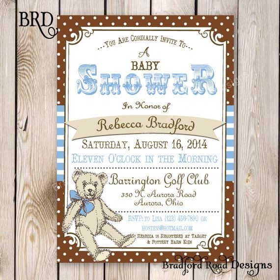 Teddy Bear Baby Shower Invitation Teddy Bear Picnic Party Teddy Bear Printable Invitation 5x7