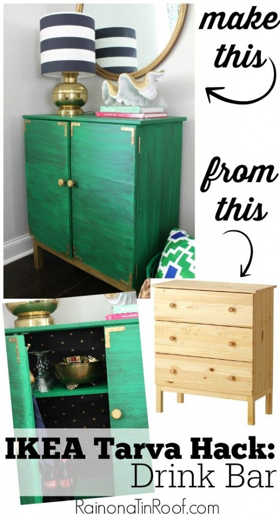 Want a customized and chic drink bar? This IKEA Tarva Hack may just be the perfect solution - and it will only set you back $100 or less. via RainonaTinRoof.com