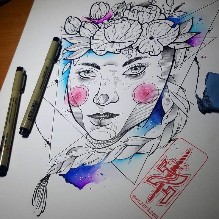 Martin Tattooer Zincik - Czech tattoo artist - Girl Illustration watercolot tattoodesign, tetování Praha / Brno