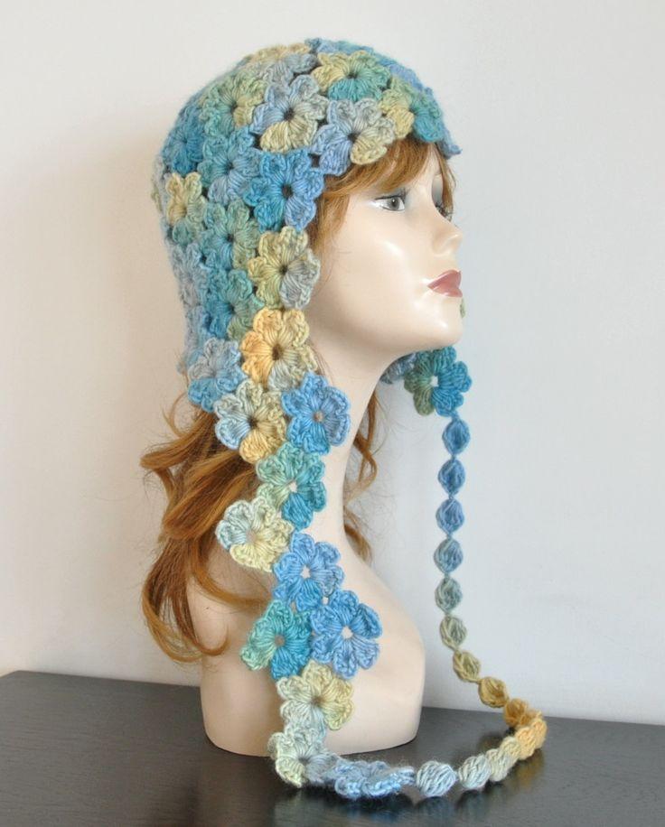 AURORA - Crochet Multicolor Flower Adult Hat by jennysunny on Etsy