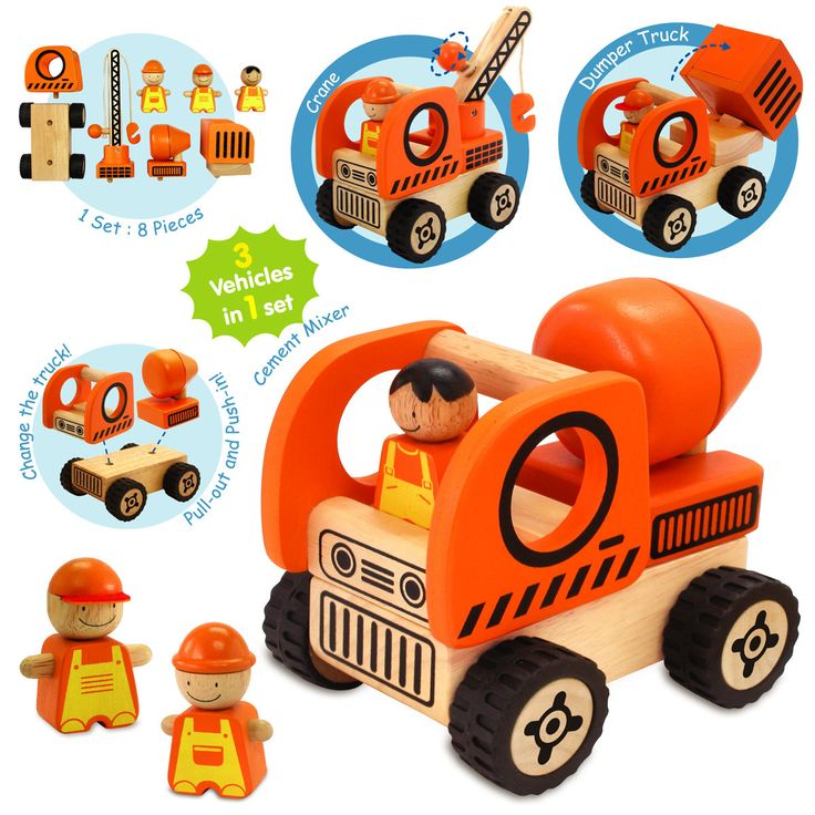 Construction Vehicles Play Set - $40 Build three vehicles from the Construction Vehicles Set!  The set comes with one base and three different truck attachments, allowing you to construct three vehicles from one!  Set includes; Cement Mixer, Crane, Dumper Truck and three workmen. The toy improves hand-eye co-ordination, physical skills and social play 19mths +