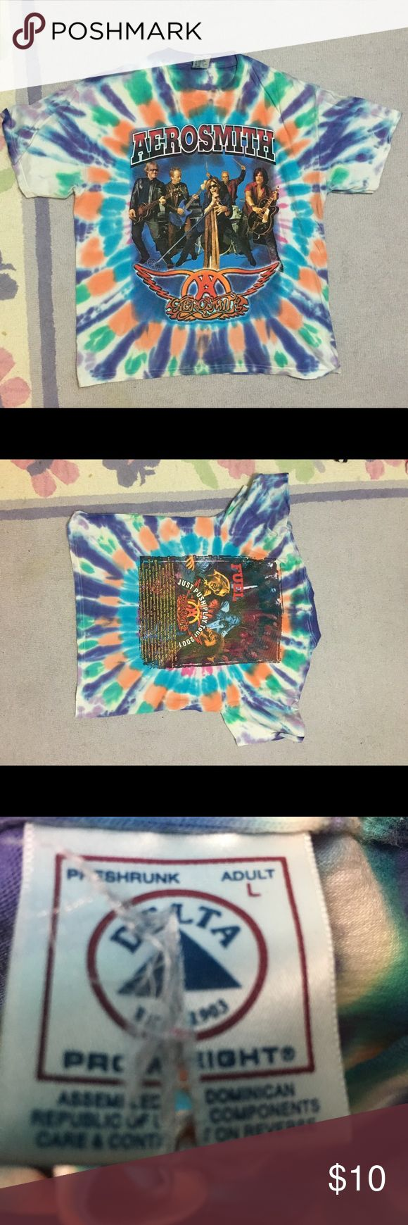 Aerosmith tiedye The tag is cut down the middle, good condition Aerosmith shirt delta Shirts