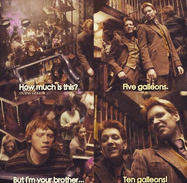can we appreciate fred and george's faces in the 10 galleons photo