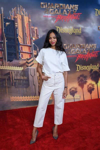 Zoe Saldana Photos Photos - In this handout photo provided by Disney Resorts, actor Zoe Saldana attends the grand opening of Guardians of The Galaxy - Mission: BREAKOUT! attraction on May 25, 2017 at Disneys California Adventure in Disneyland in Anaheim, California. - Guardians of the Galaxy - Mission: BREAKOUT! Grand Opening