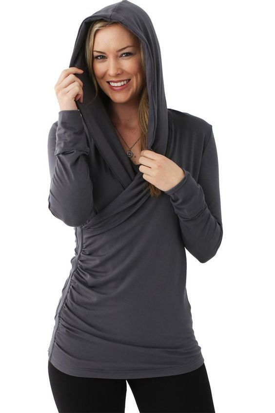 This nursing hoodie can take you from maternity, to breastfeeding, and beyond as a regular, and super comfortable, top!