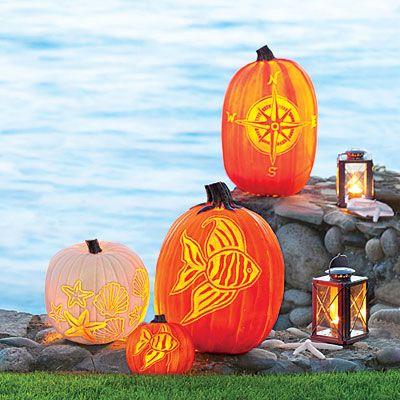 Compass, Fish, Shells & Starfish - new pumpkin carving designs from Coastal Living!  How fun!!!