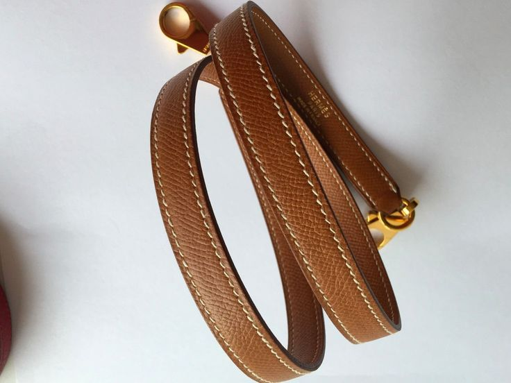 Authentic HERMES Kelly Shoulder Strap Gold Courchevel Gold Hardware Bolide