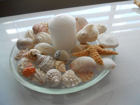 Wedding Shower Table Decorations Beach Theme Seashell and Candle Glass #EasyPin