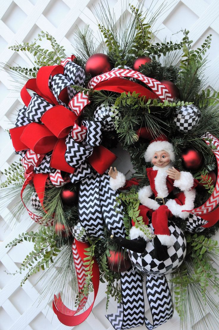 Christmas Wreath Black and White Wreath Elf