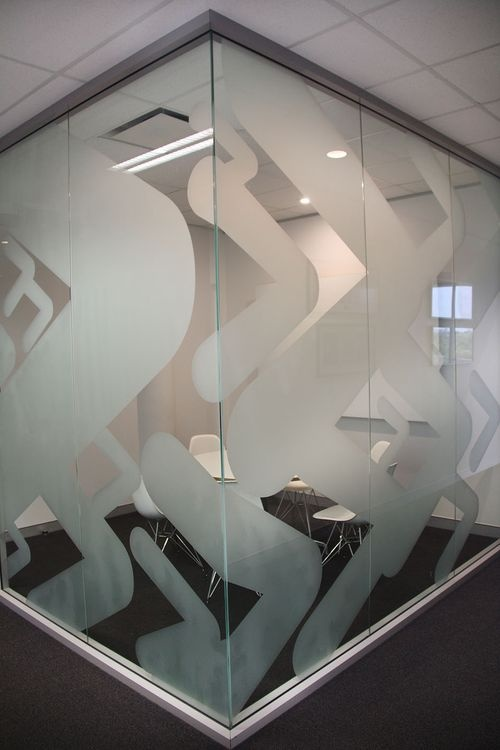 The frosted interior graphics we produced for this client add branding to an otherwise blank space.