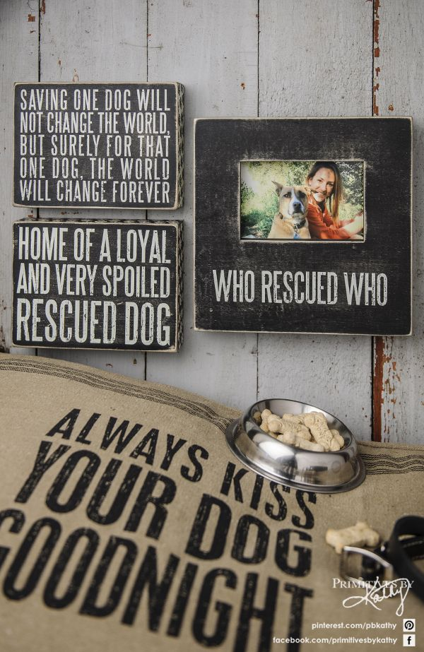 Who rescued who? Box Signs and Pillow Home Decor & Gift ideas for Dog Lovers.