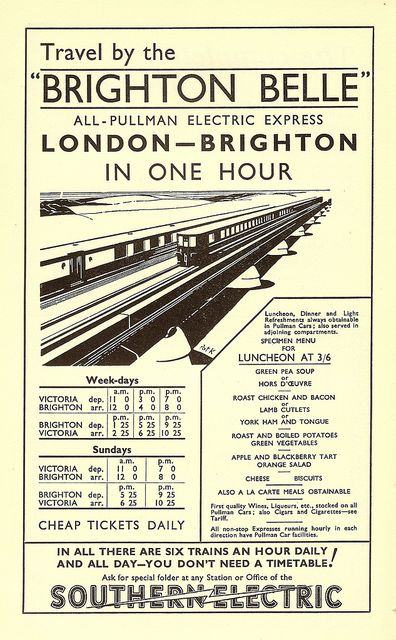 Travel by the Brighton Belle - Southern Railway advert illustrated by Pat Keely, 1934