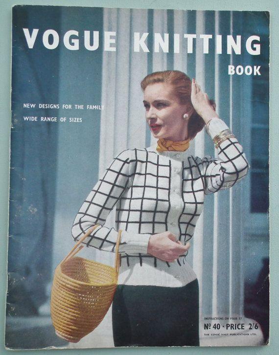 Vintage 1950s Vogue Knitting Patterns - Vogue Knitting Book No 40 1952 - 50s…