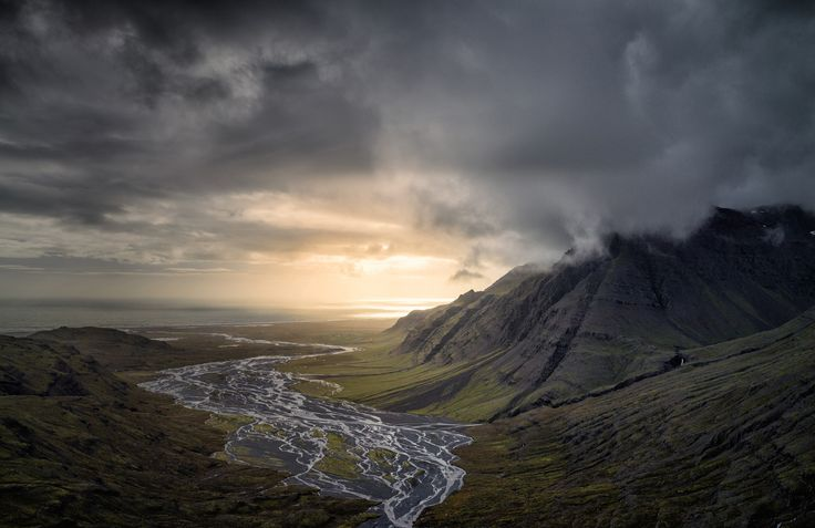 General 2500x1623 nature landscape dark clouds mountain river valley sunset sea Iceland