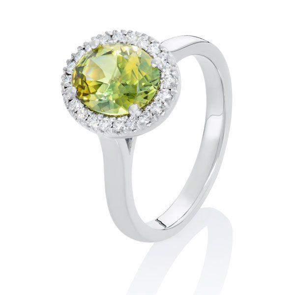 Green/yellow sapphire & diamond ring - Stones Diamonds