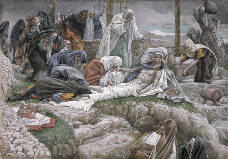 The Holy Virgin Receives the Body of Jesus by James Tissot {c.1886-94} ~ The Pieta