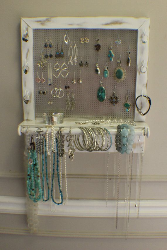 Beautiful  Shabby Chic Wall Mounted Jewelry Organizer with a Bracelet Bar, Rustic White Wall Organizer, Jewelry Display, Necklace Holder