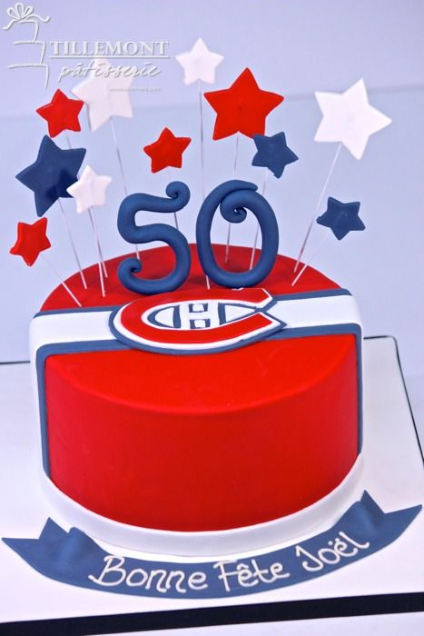 1-tier montreal canadiens (fondant logo) Sports Cakes | Patisserie Tillemont | Montreal