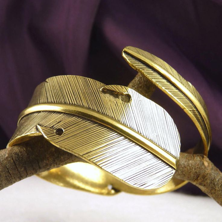 BRASS Feather Cuff SilverSari Bangle * Hand-crafted by Silversmiths (BB4) Adjust