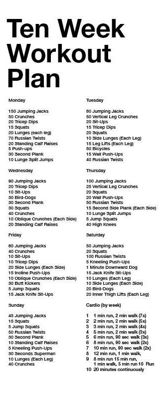Ten Week Workout Plan ,if its too easy do everything for that day 2 or 3x