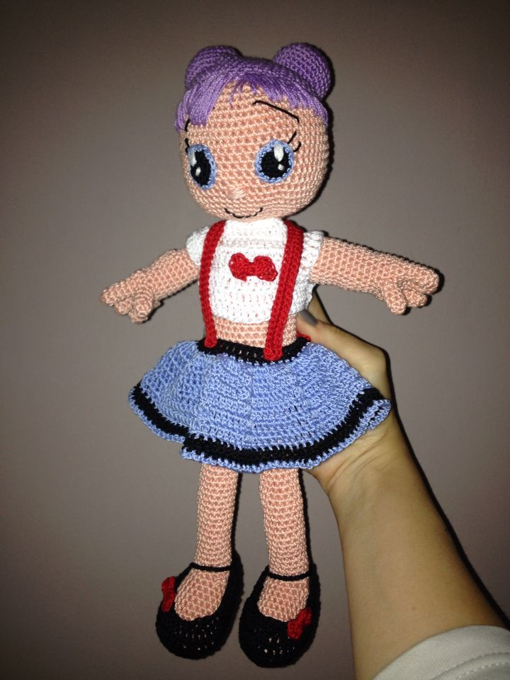 Thattersail crochet doll, Cotton yarn and synthetic stuff. 1,75mm hook.