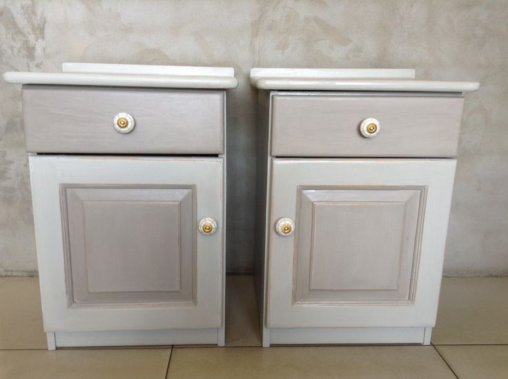 Bedside tables painted with Annie Sloan Paris Grey and French Linen