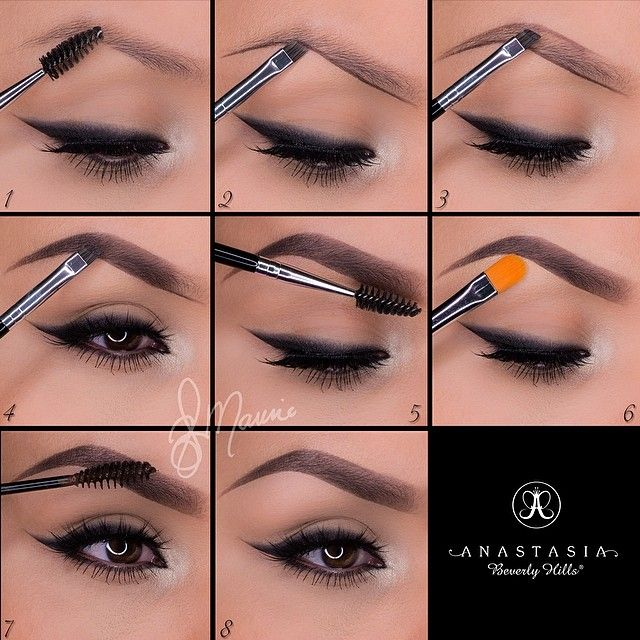 "#ShareIG A set by step brow routine by @elymarino using Dipbrow.  Thank you gorgeous love this  1.Start by taking the spoolie side of the double sided brush #12 and comb through the brow hairs  2.Taking Dipbrow in ""Ebony"" with the same brush, line the bottom of the brow following your own natural shape!  3.For a more defined brow, line the top of the brow  4.Fill in the empty space with light strokes and in the direction of the hair! Stop about three quarters of the way in  5.With what is…"