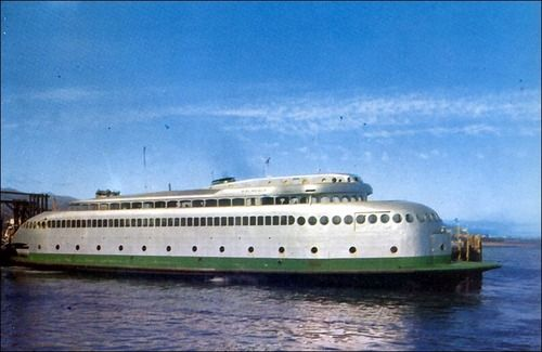 Once upon a time the Kalakala was renowned as the first aerodynamic art deco ferry in the world. The Washington State Ferry, built on the hull of another ship that burned down, plied the waters of Puget Sound from 1935 until 1967.