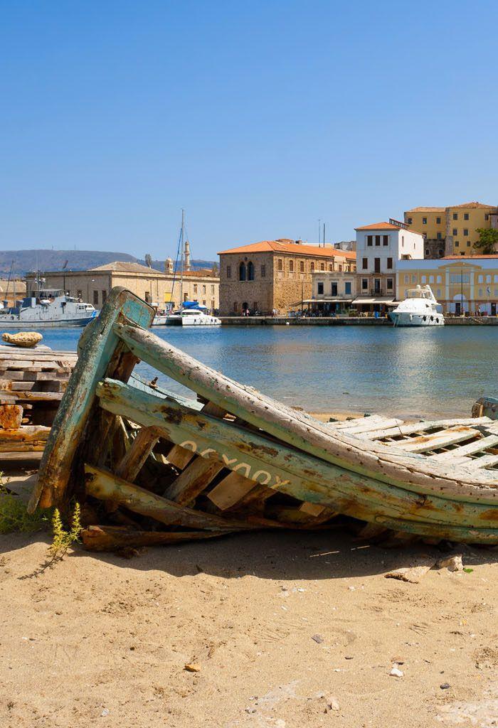 A fishing boat on the beach in Chania, Crete www.mediteranique.com/hotels-greece/crete/
